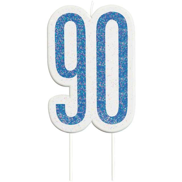 """Świeczka na tort """"90 Urodziny - Glitz"""", niebieska brokatowa, UNIQUE, 10 cm"""