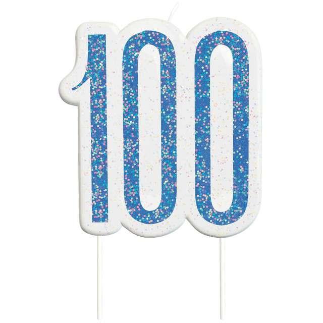 """Świeczka na tort """"100 Urodziny - Glitz"""", niebieska brokatowa, UNIQUE, 10 cm"""