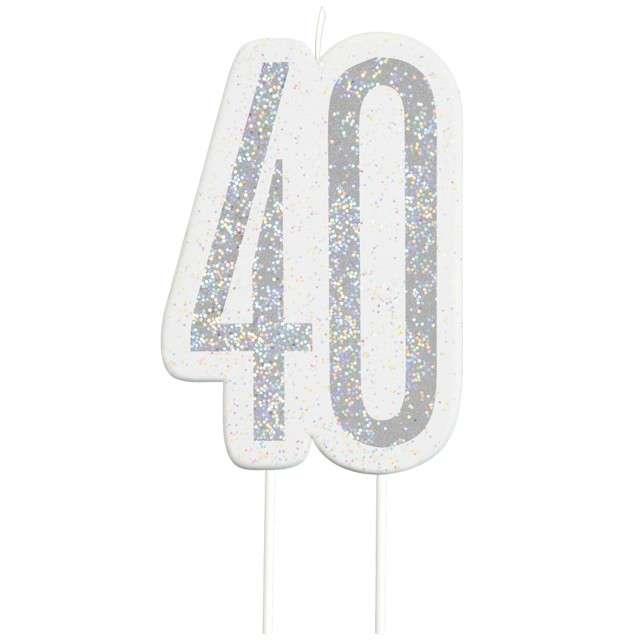"""Świeczka na tort """"40 Urodziny - Glitz"""", srebrna brokatowa, UNIQUE, 10 cm"""