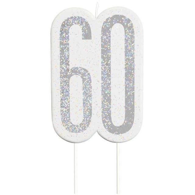 """Świeczka na tort """"60 Urodziny - Glitz"""", srebrna brokatowa, UNIQUE, 10 cm"""