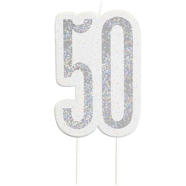 """Świeczka na tort """"50 Urodziny - Glitz"""", srebrna brokatowa, UNIQUE, 10 cm"""