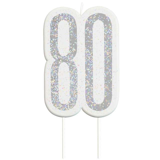 """Świeczka na tort """"80 Urodziny - Glitz"""", srebrna brokatowa, UNIQUE, 10 cm"""