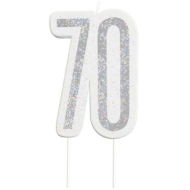 """Świeczka na tort """"70 Urodziny - Glitz"""", srebrna brokatowa, UNIQUE, 10 cm"""