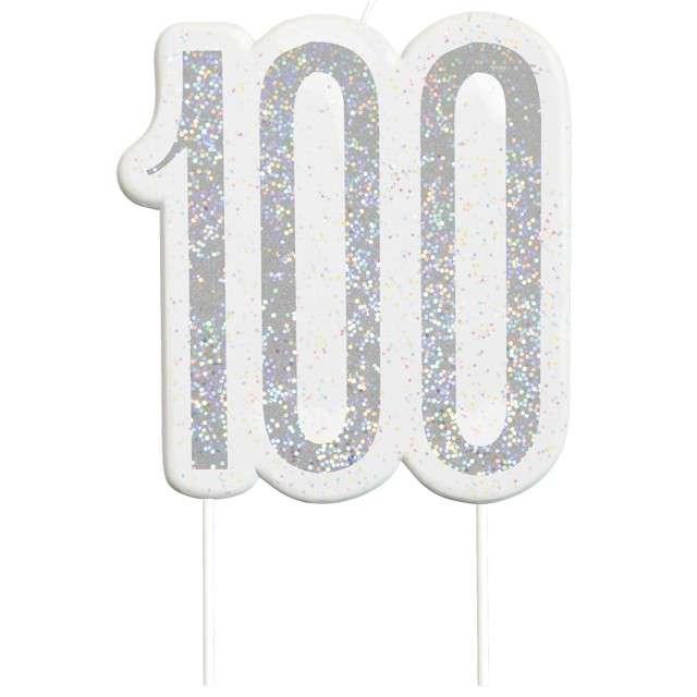 """Świeczka na tort """"100 Urodziny - Glitz"""", srebrna brokatowa, UNIQUE, 10 cm"""