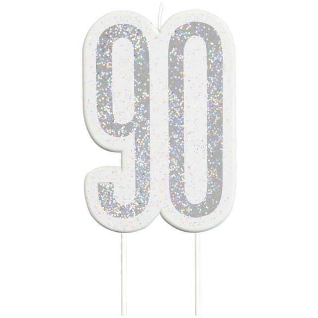 """Świeczka na tort """"90 Urodziny - Glitz"""", srebrna brokatowa, UNIQUE, 10 cm"""