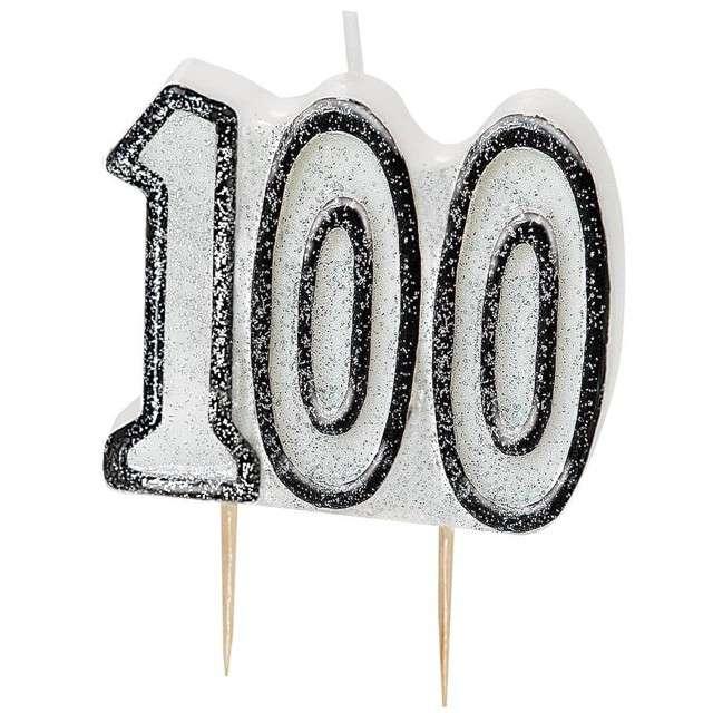 """Świeczka na tort """"100 Urodziny - Glitz"""", biała brokatowa, UNIQUE, 6 cm"""