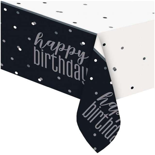"""Obrus foliowy """"Happy Birthday - Glitz"""", czarny, UNIQUE, 213x137 cm"""