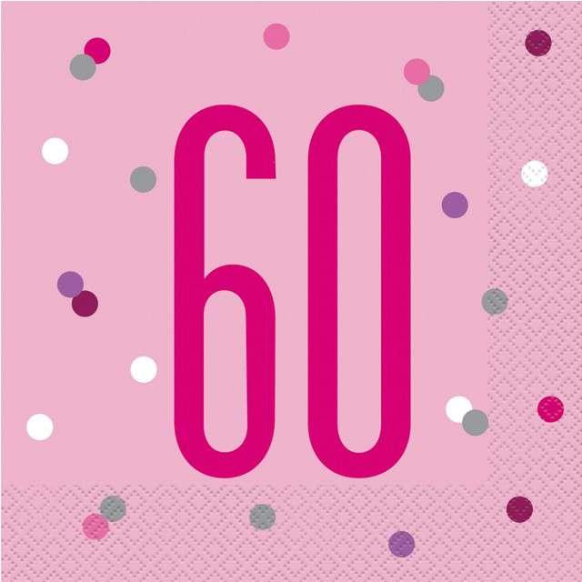 """Serwetki """"60 urodziny - Glitz Grochy"""", różowe, UNIQUE, 33 cm, 16 szt"""