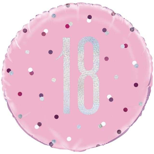 """Balon foliowy """"18 Urodziny - Glitz Grochy"""", UNIQUE, różowy, 18"""" CIR"""