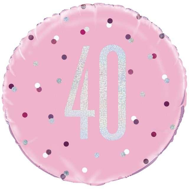 Balon foliowy 40 Urodziny - Glitz Grochy UNIQUE różowy 18 CIR