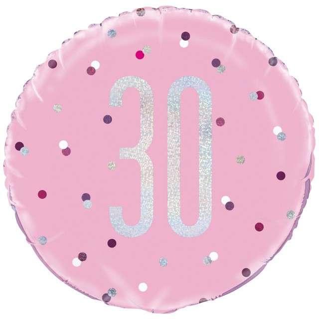 """Balon foliowy """"30 Urodziny - Glitz Grochy"""", UNIQUE, różowy, 18"""" CIR"""