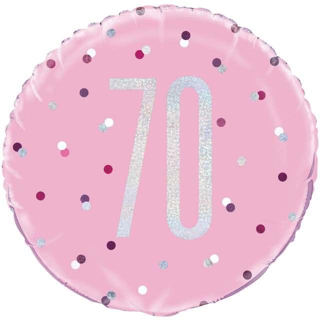 """Balon foliowy """"70 Urodziny - Glitz Grochy"""", UNIQUE, różowy, 18"""" CIR"""