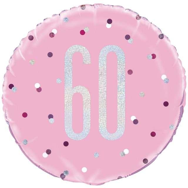 Balon foliowy 60 Urodziny - Glitz Grochy UNIQUE różowy 18 CIR