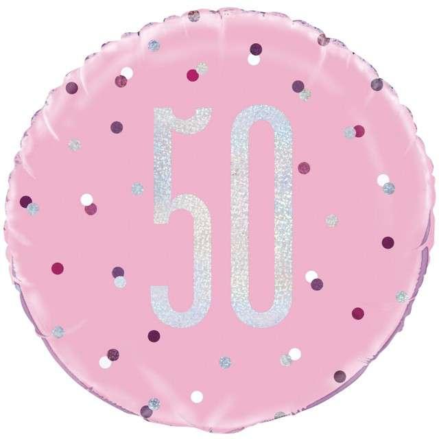 Balon foliowy 50 Urodziny - Glitz Grochy UNIQUE różowy 18 CIR