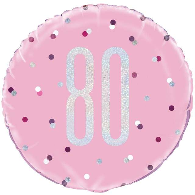 """Balon foliowy """"80 Urodziny - Glitz Grochy"""", UNIQUE, różowy, 18"""" CIR"""