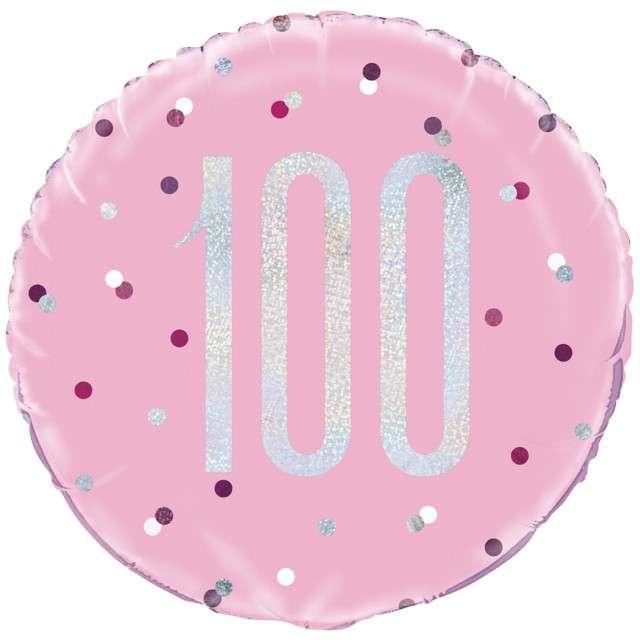 Balon foliowy 100 Urodziny - Glitz Grochy UNIQUE różowy 18 CIR
