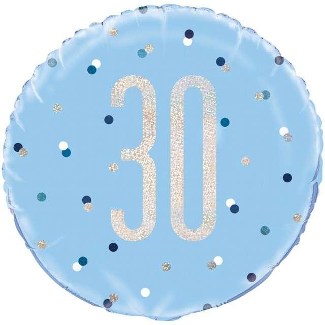 """Balon foliowy """"30 Urodziny - Glitz Grochy"""", UNIQUE, niebieski, 18"""" CIR"""