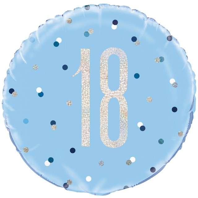 """Balon foliowy """"18 Urodziny - Glitz Grochy"""", UNIQUE, niebieski, 18"""" CIR"""