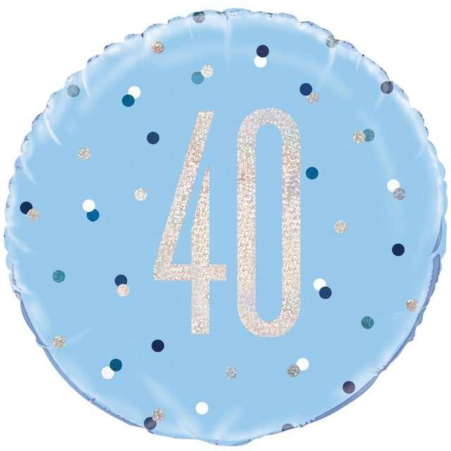 Balon foliowy 40 Urodziny - Glitz Grochy UNIQUE niebieski 18 CIR
