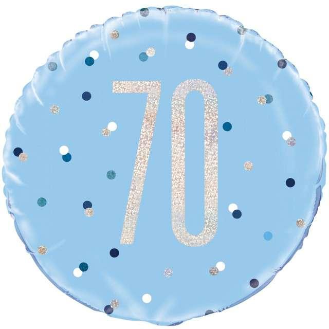 """Balon foliowy """"70 Urodziny - Glitz Grochy"""", UNIQUE, niebieski, 18"""" CIR"""