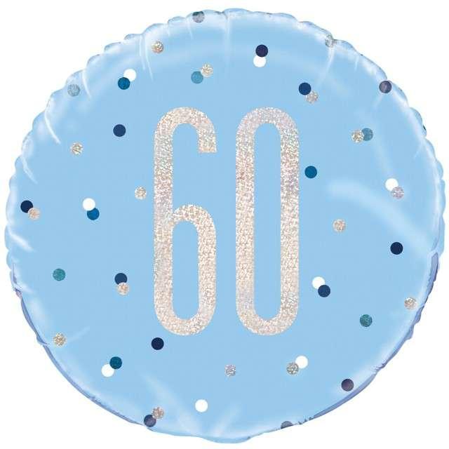 """Balon foliowy """"60 Urodziny - Glitz Grochy"""", UNIQUE, niebieski, 18"""" CIR"""