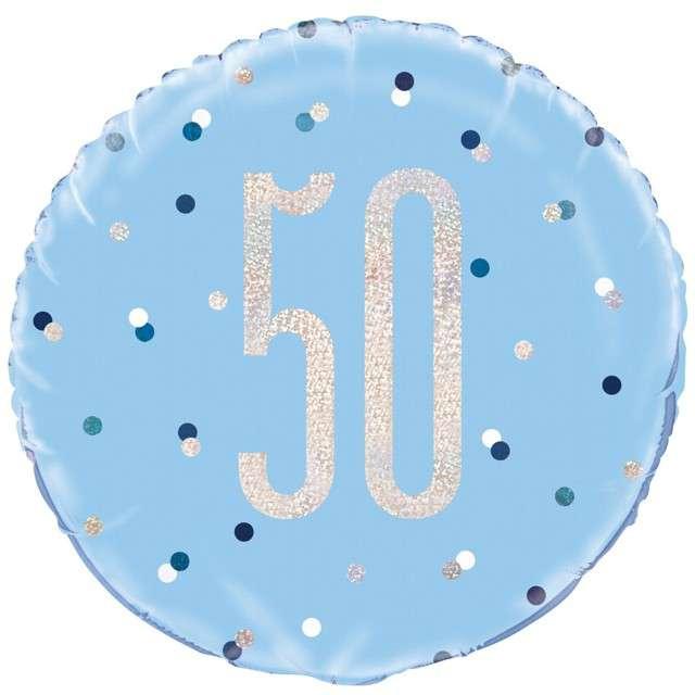 Balon foliowy 50 Urodziny - Glitz Grochy UNIQUE niebieski 18 CIR