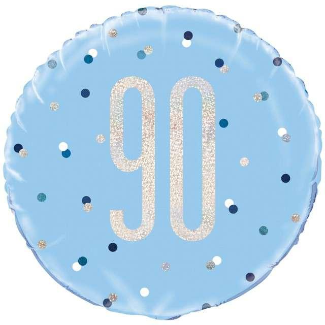 """Balon foliowy """"90 Urodziny - Glitz Grochy"""", UNIQUE, niebieski, 18"""" CIR"""