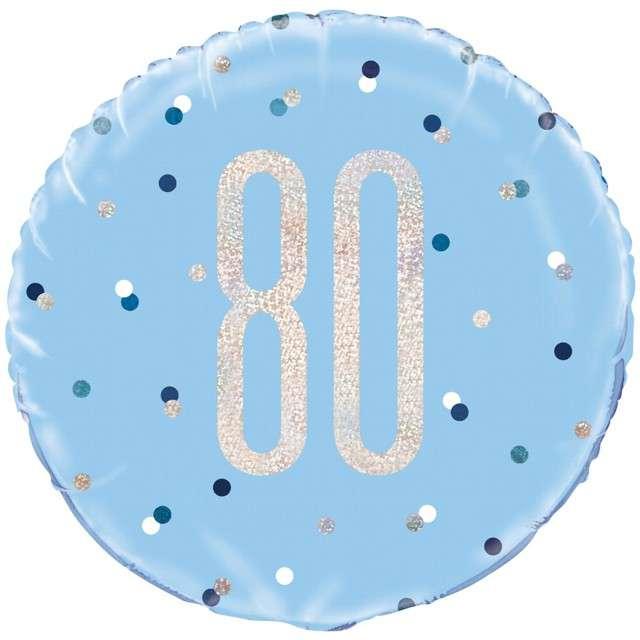 Balon foliowy 80 Urodziny - Glitz Grochy UNIQUE niebieski 18 CIR