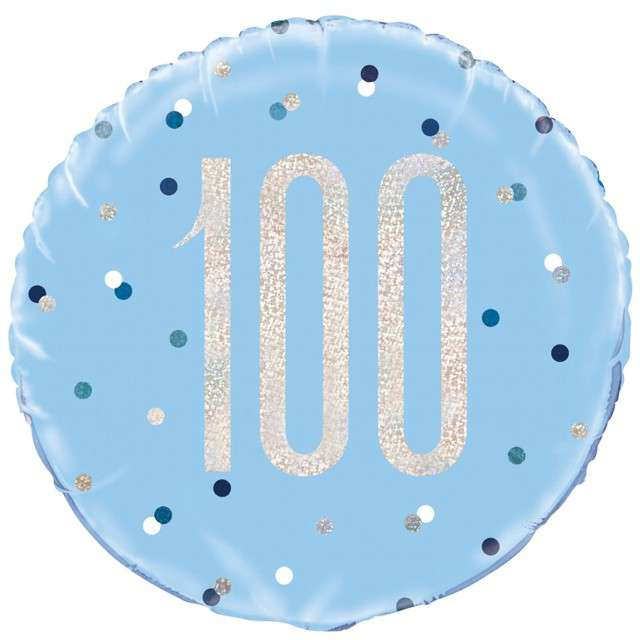 """Balon foliowy """"100 Urodziny - Glitz Grochy"""", UNIQUE, niebieski, 18"""" CIR"""