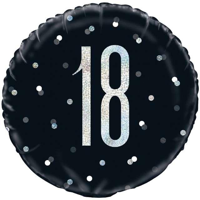 """Balon foliowy """"18 Urodziny - Glitz Grochy"""", UNIQUE, czarny, 18"""" CIR"""