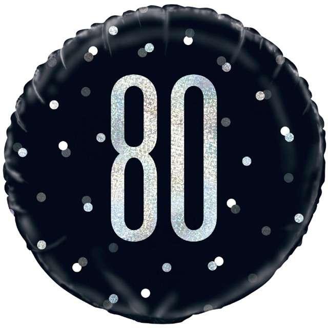 """Balon foliowy """"80 Urodziny - Glitz Grochy"""", UNIQUE, czarny, 18"""" CIR"""
