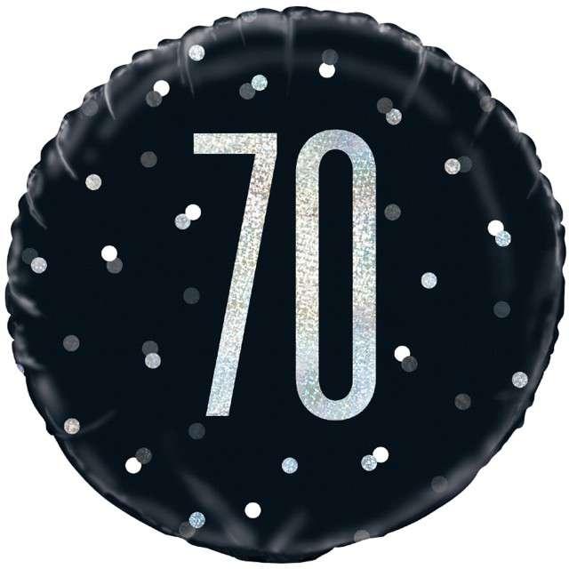 """Balon foliowy """"70 Urodziny - Glitz Grochy"""", UNIQUE, czarny, 18"""" CIR"""