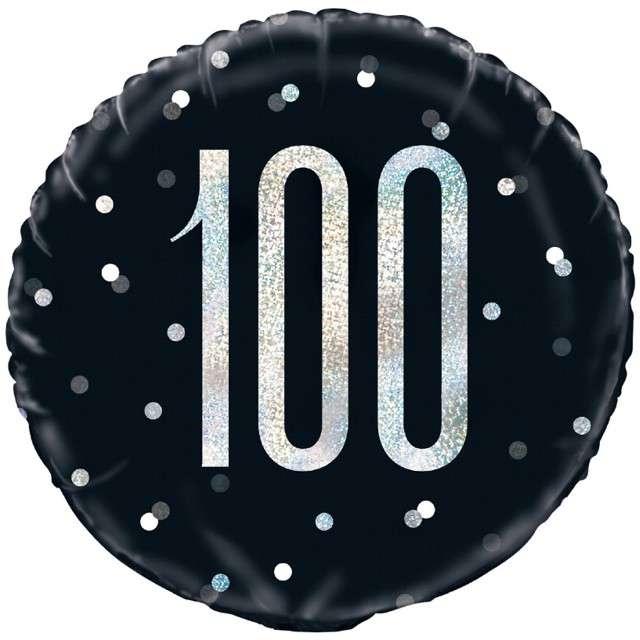 Balon foliowy 100 Urodziny - Glitz Grochy UNIQUE czarny 18 CIR