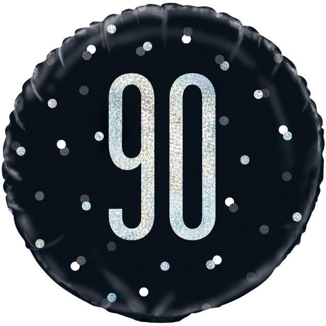 """Balon foliowy """"90 Urodziny - Glitz Grochy"""", UNIQUE, czarny, 18"""" CIR"""