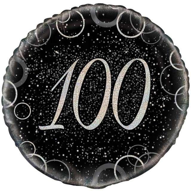 """Balon foliowy """"Urodziny 100 - Glitz"""", UNIQUE, srebrny, 18"""" CIR"""