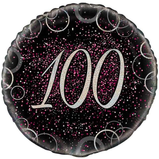 """Balon foliowy """"Urodziny 100 - Glitz"""", UNIQUE, różowy, 18"""" CIR"""