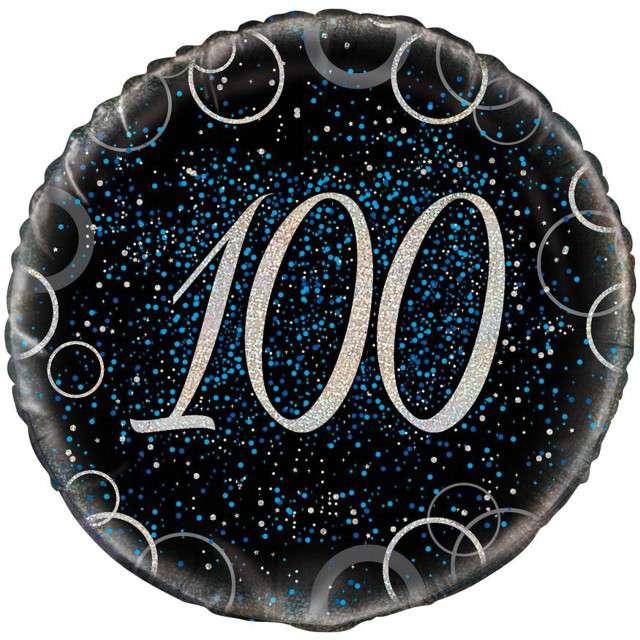 """Balon foliowy """"Urodziny 100 - Glitz"""", UNIQUE, niebieski, 18"""" CIR"""