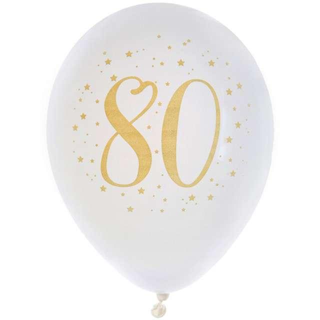 """Balony """"80 Urodziny"""", pastel białe, SANTEX, 9"""", 8 szt"""