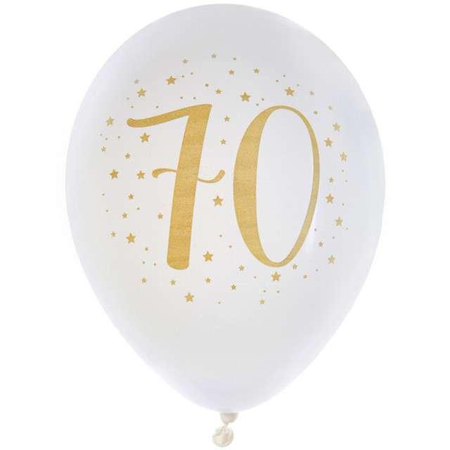 """Balony """"70 Urodziny"""", pastel białe, SANTEX, 9"""", 8 szt"""