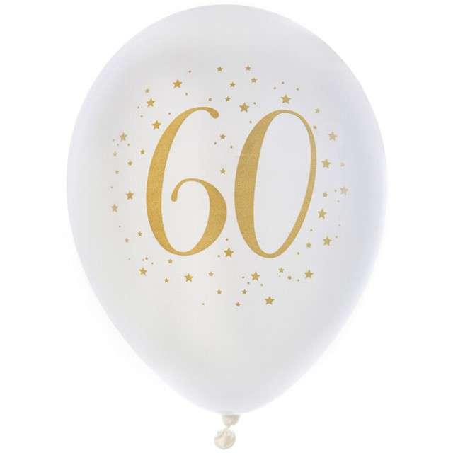 """Balony """"60 Urodziny"""", pastel białe, SANTEX, 9"""", 8 szt"""