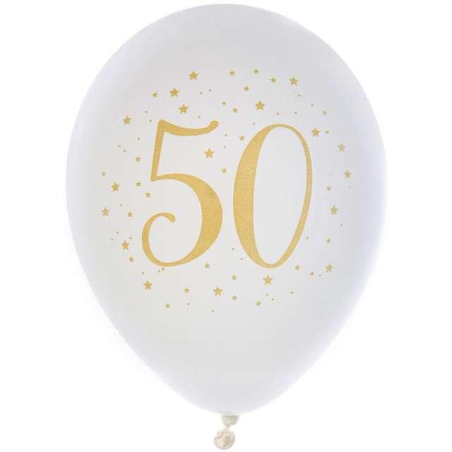 """Balony """"50 Urodziny"""", pastel białe, SANTEX, 9"""", 8 szt"""
