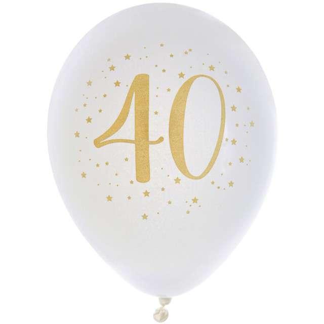 """Balony """"40 Urodziny"""", pastel białe, SANTEX, 9"""", 8 szt"""