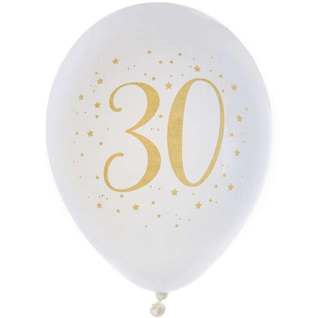 """Balony """"30 Urodziny"""", pastel białe, SANTEX, 9"""", 8 szt"""