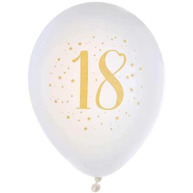 """Balony """"18 Urodziny"""", pastel białe, SANTEX, 9"""", 8 szt"""
