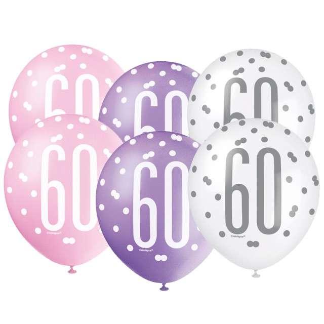 """Balony """"60 Urodziny - Glitz Grochy"""", pastel mix, UNIQUE, 12"""", 6 szt"""