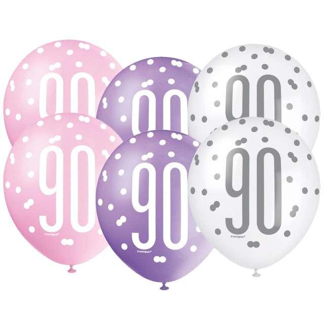 """Balony """"90 Urodziny - Glitz Grochy"""", pastel mix, UNIQUE, 12"""", 6 szt"""