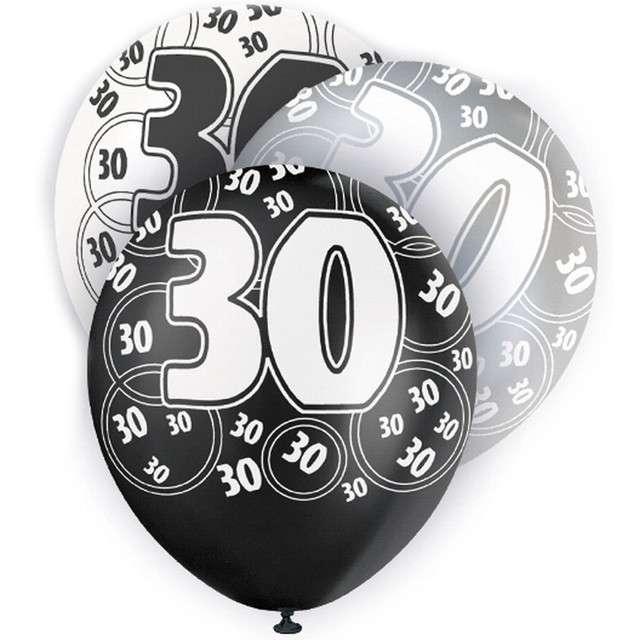 "Balony ""30 Urodziny - Glitz"", pastel mix, UNIQUE, 12"", 6 szt"