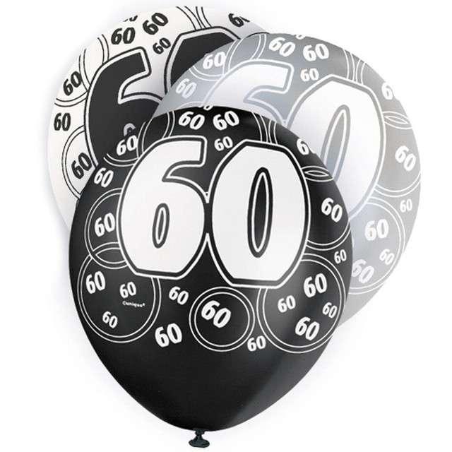 "Balony ""60 Urodziny - Glitz"", pastel mix, UNIQUE, 12"", 6 szt"