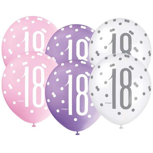 """Balony """"18 Urodziny - Glitz Grochy"""", pastel mix, UNIQUE, 12"""", 6 szt"""