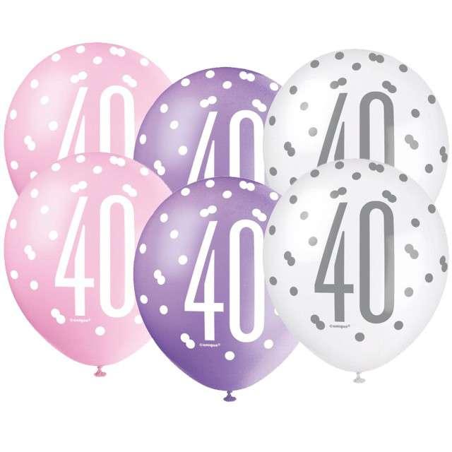 """Balony """"40 Urodziny - Glitz Grochy"""", pastel mix, UNIQUE, 12"""", 6 szt"""